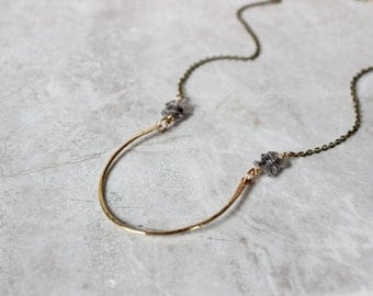 Brass Crescent Pendant Necklace, Herkimer Diamond Necklace, Simple Statement Necklace