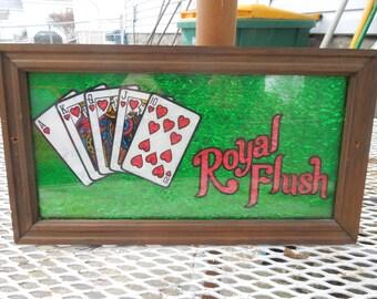 Vintage Royal Flush Sign Plaque Card Game Bar Glass Foiled Framed Wall Hanging