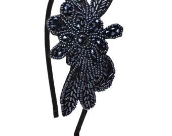 Crystal Beaded Headband, Gunmetal, Black Headband, Hairband, Hair Accessory, Accessories, Flexible Headband, Comfortable, Hair