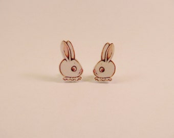 Dolly Dingle Bunny Rabbit Illustrated Earrings
