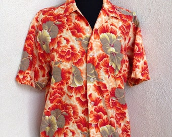 Vintage Hawaiian shirt orange hibiscus flower by Polynesian of Japan sz Men S womens M/L