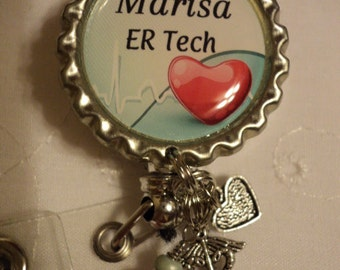 Personalized ER Tech or ER Nurse badge reel with charms