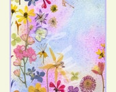 Tea Towel Rainbow of Pressed Flowers Special Order 2 to 3 weeks to ship