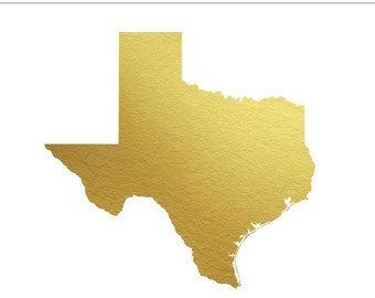 Texas Gold Foil State Clip Art Personal & Commercial Use - Wedding, South, Southern, Lone Star, Invitation, Dallas, TX - INSTANT DOWNLOAD