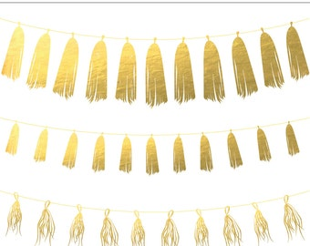 Gold Foil Tassel Garland Digital Clipart - 3 Pieces for Personal & Commercial Use - INSTANT DOWNLOAD