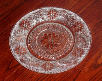 "INDIANA DEPRESSION SANDWICH Pattern Luncheon Dessert Salad Plate(s) Clear Pressed Embossed Crystal Glass 8 3/8"" Tiara Excellent Condition"