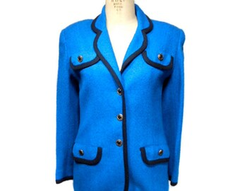 vintage HENRI BENDEL boucle jacket / blue / fitted jacket / Hilary Banks / tailored jacket / women's vintage jacket / tag size 2