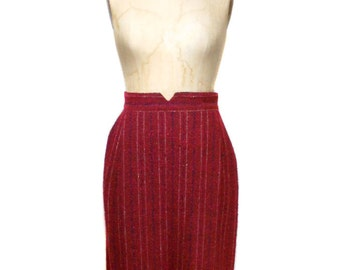 vintage 1980's CHRISTIAN DIOR striped skirt / red / wool boucle / pencil skirt / high waist skirt / women's vintage skirt / tag size 12