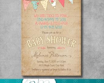 Shabby Chic Baby Shower Invitation- Bunting - Digital File - Printable - Customizable - DIY