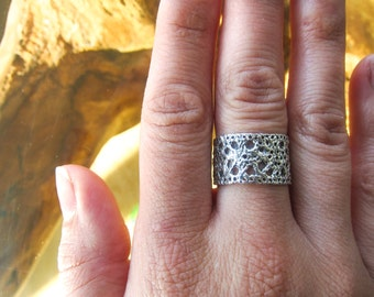 Lace Ring - cast from vintage lace - Sterling Silver