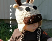 Crochet Hat PDF PATTERN Deer Hat, Moose Hat, Instant Download - Newborn to 10 years - Permission to Sell Finished Items