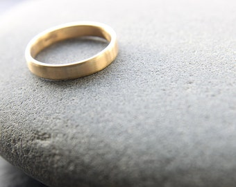 3mm wedding ring in 18ct yellow gold, flat profile, brushed finish - handmade to order from recycled gold