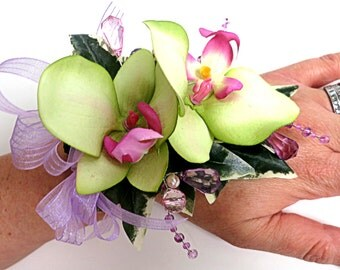Faux Corsage - Wedding Corsage - Anniversary Corsage - Prom Corsage - Mother's Day Corsage - Lime Green And Pink Orchid Corsage