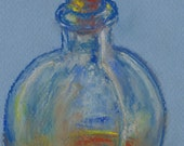 Still Life Pastel Sketch Glass Bottle Original Artwork by Niki Hilsabeck