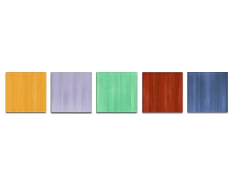 Modern Artwork 'Spring' Colorful Painting Contemporary Art Metal Giclee, Bright Pastel Abstract Home Accents, Multi Panel Art Office Decor