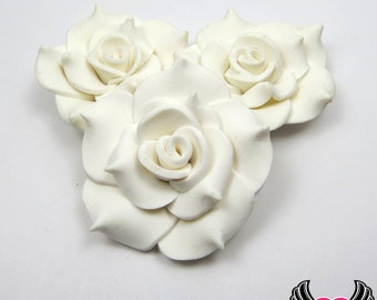 42mm White Polymer Clay Rose Flatback Cabochons ( 3 pieces ), Flower Cabochons, Large Flower