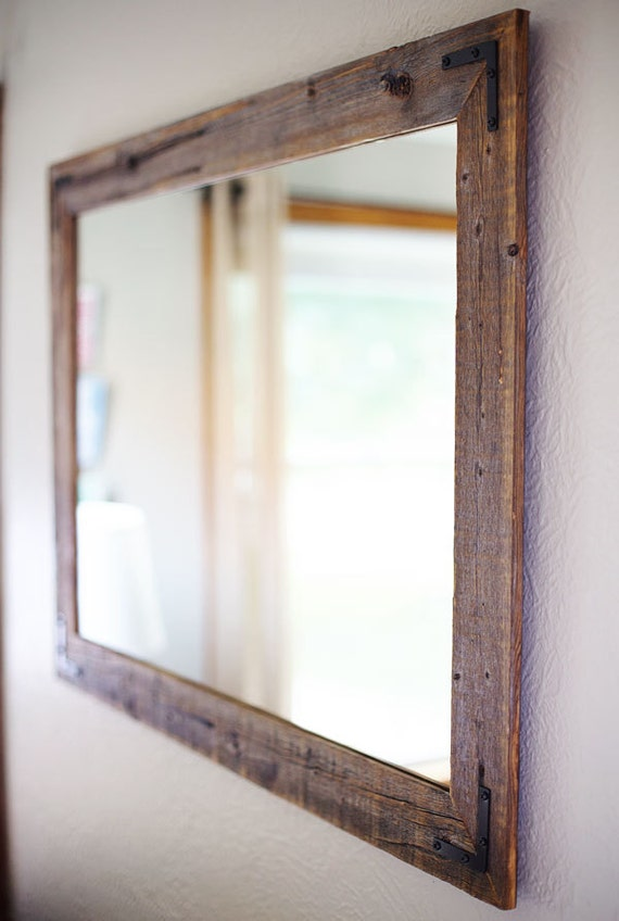Rustic wall mirror large wall mirror 42 x 30 vanity mirror for Large wall mirror wood frame