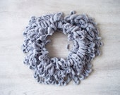 SALE! Gray Pompom Scarf - Soft Scarf - Cocoon, Mulberry Yarn - Autumn Accessories - Chunky