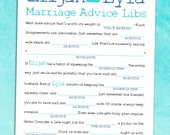 Rustic Chic Wedding Guest Book Mad Lib - DIY Bridal Shower Game PDF / Engagement Party Activity [Marriage Advice]