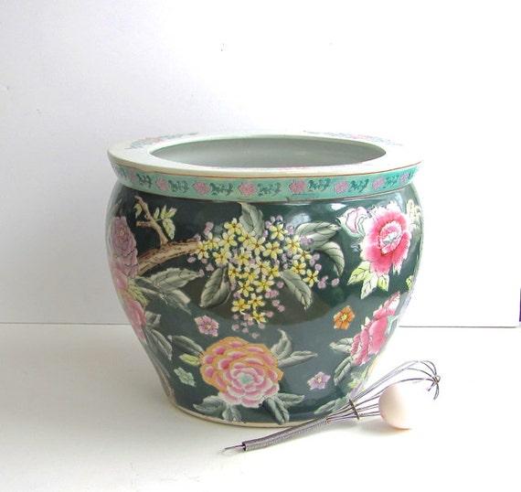 Vintage chinese koi pot large fish bowl flower pot garden for Koi fish bowl