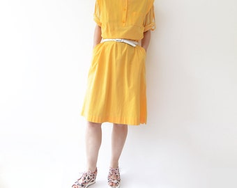Vintage yellow 80s cotton midi dress with net sheer sleeves