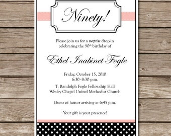 Spotty Dotty Invitation Surprise Party Invitation Polka Dots Digital File Print Printable