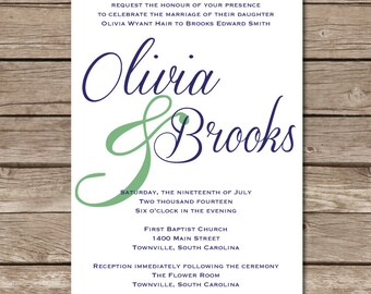 Wedding Invitation Classy Marriage Party Engaged Digital File Print Printable