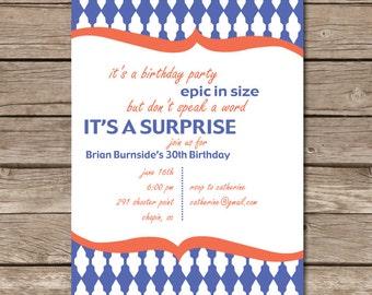 Surprise Party Invitation Epic Nautical Digital File Print Printable