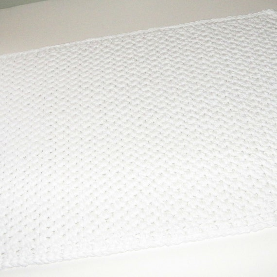 Double Thick White Bath Mat In Cotton With By