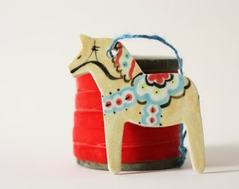 Dala Horse Ornament - modern scandinavian folk art hand painted Dala Horse porcelain ornament with clear crackle glaze