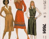 """Lapped Bodice Dress or Jumper with Choice of Sleeves Vintage 1980s Sewing Pattern, McCalls 7691, Size 14 Bust 36"""" (92cm), Free US Shipping"""