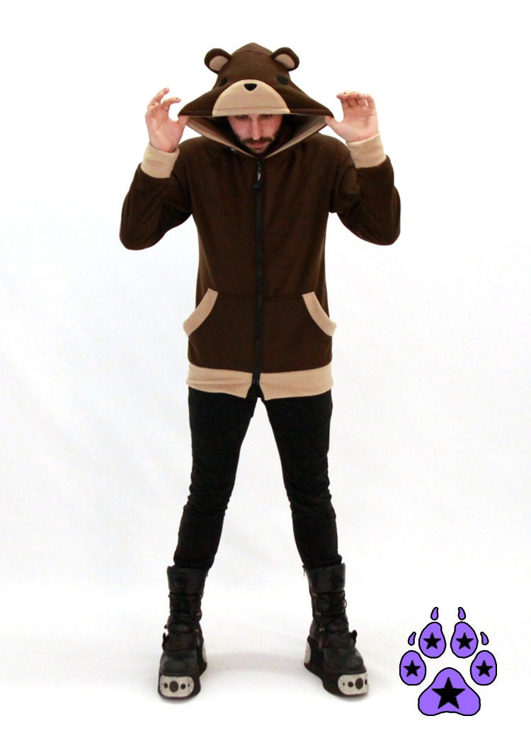Pawstar TEDDY BEAR HOODIE Jacket costume cosplay lain brown