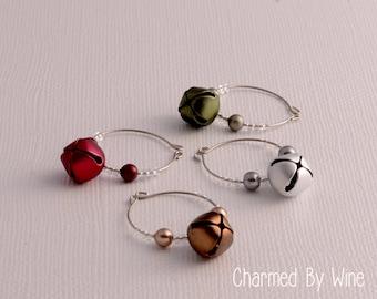 """SALE -- Jingle Bell Wine Charms """"Christmas Bells"""" (Set of 4): Christmas Gifts, Holiday Decor, Christmas Wine Charms"""