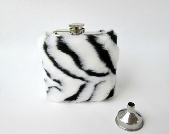 21st Birthday Gift for Her, Unique Hip Flask for Women, Zebra Print Liquor Flask Womens Flask Funnel INCLUDING FLASK, Faux Fur, Bridesmaid