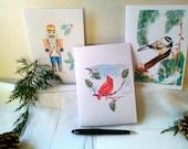 Set of Three Christmas/Holiday Greeting Cards w/Envelopes - Cardinal, Chickadee, Nutcracker