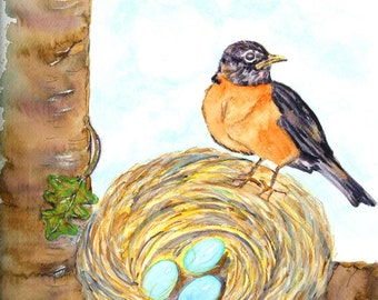 Robin, Bird's Nest and Blue Eggs Watercolor Print, Bird Painting, Spring Nature Scene, Home Decor Wall Art, Bedroom or Bathroom Picture