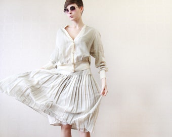 White beige grey plaid two piece pleated knee skirt and cardigan suit set M