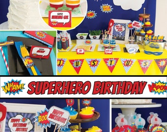 Superhero Birthday Party Decorations Package comic MC02 Printable