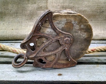 Vintage Wood & Iron Pulley