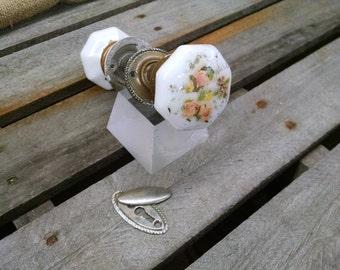 Antique Milk Glass Octogonal Doorknobs