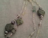 RESERVED FOR AMY - Green Gemstone and Pewter necklace and earring set