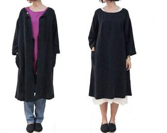 Black Two Sides wear Joker Loose Dress Coat