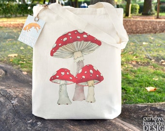 Toadstool Mushrooms Tote Bag, Ethically Produced Reusable Shopper Bag, Cotton Tote, Shopping Bag, Eco Tote Bag