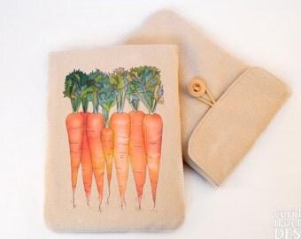Carrots Digital Media Case, ipad Case, Kindle Case, Tablet Case, Padded Sleeve, Protective Case