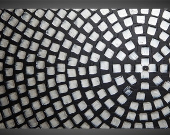 Painting Art Paintings Black and Silver Metallic Squares Abstract Acrylic Painting Art Deco Textured Modern Ready to Hang 48 x 24 by ilonka