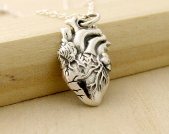 Anatomically Correct Heart Necklace - Anatomical Heart Pendant - Sterling Silver Heart Necklace - Nurse or Doctor Gift - Medical Jewelry