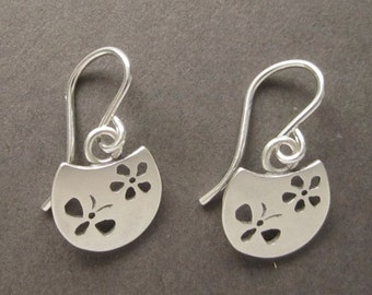 round butterfly bug daisy flower earrings sterling handmade in USA