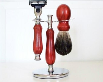 Hand-turned redheart wood shaving set - razor, stand and badger hair brush