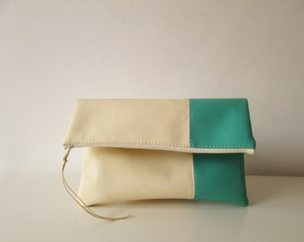 Clutch purse, Clutch bag, Foldover clutch, Color Block, Cream and Mint, Ivory clutch