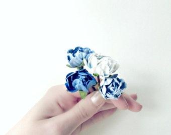 Blue Flower Hair Pins. Something Blue Wedding Hair Accessories. Paper Flowers Bobby Pin Set in Royal Blue, Cornflower, Sky, Powder Blue.